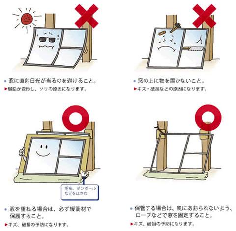 窓サッシの保管と取扱い方法